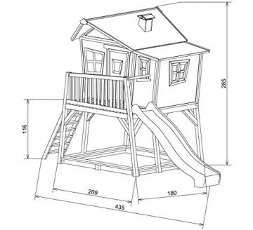 Zeichnung mit Maßen AXI Baumhaus Kinderspielhaus Stelzenhaus