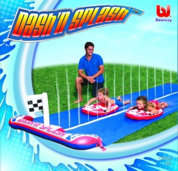 Verpackung von Bestway 52113B - Wasserrutsche für Kinder  488 cm mit 2 Surfbrettern