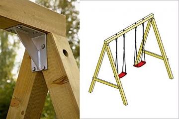 Detailaufnehme Doppelschaukel Premium Plus 1.2 Holz von Gartenpirat®