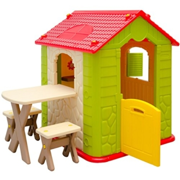 eyepower Kinderspielhaus mit Tisch und 2 Bänken Spielhaus  mit offener Tür