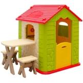 eyepower Kinderspielhaus mit Tisch und 2 Bänken Spielhaus