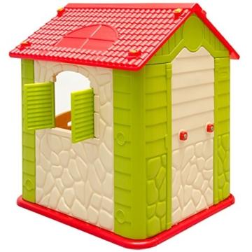 eyepower Kinderspielhaus mit Tisch und 2 Bänken Spielhaus Rückseite