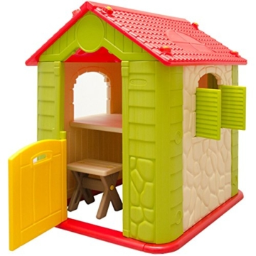 eyepower Kinderspielhaus mit Tisch und 2 Bänken Spielhaus Ansicht von Links mit offener Tür