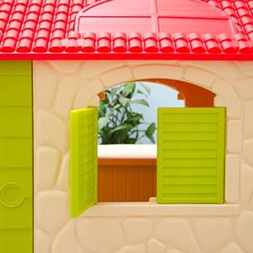 eyepower Kinderspielhaus mit Tisch und 2 Bänken Spielhaus Fenster im Detail