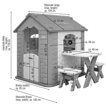 eyepower Kinderspielhaus mit Tisch und 2 Bänken Spielhaus Maßzeichnung