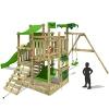 Fatmoose Spielturm Kletterturm aus Holz mit grüner Rutsche
