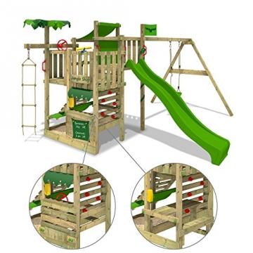 Fatmoose Spielturm Kletterturm aus Holz mit grüner Rutsche Details
