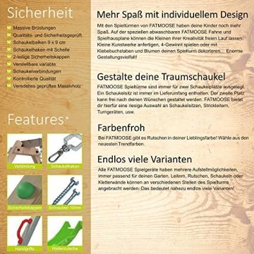 Broschüre Fatmoose Spielturm Kletterturm aus Holz mit grüner Rutsche