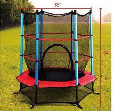Foto vom Gartentrampolin 140cm mit Sicherheitsnetz Kinder Trampolin Sicherheitsrampolin