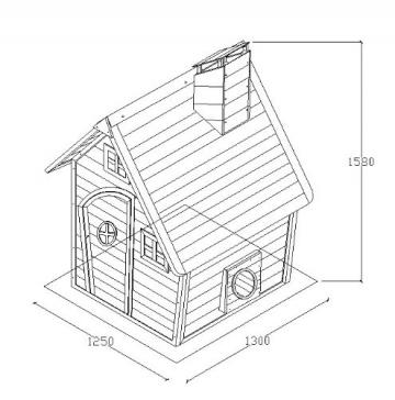 Skizze vom Kinderspielhaus NELE - Spielhaus aus Holz