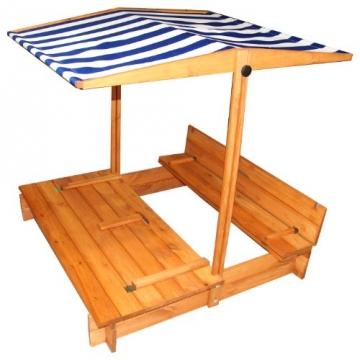Sandkasten mit Dach und Sitzbänken 120 x 120 cm