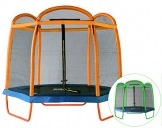 SixBros. SixJump 2,10 M Gartentrampolin Orange Trampolin mit Sicherheitsnetz Farbvarianten