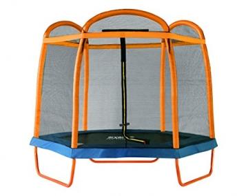 SixBros. SixJump 2,10 M Gartentrampolin Orange Trampolin mit Sicherheitsnetz