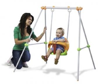 Smoby 310046 - Metallschaukel Baby Swing - mit Baby und Mama