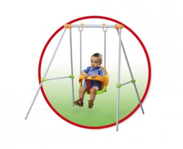 Smoby 310046 - Metallschaukel Baby Swing im roten Rahmen