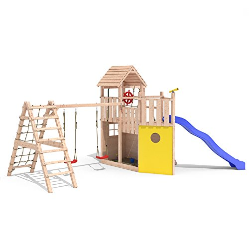 frontansicht spielturm kon tiki neo 2 baumhaus piratenschiff garten kids. Black Bedroom Furniture Sets. Home Design Ideas