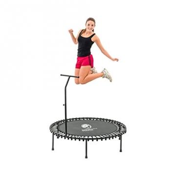 Trampolin BODYJUMP faltbar Ø 140 cm mit Haltgriff mit springender Frau