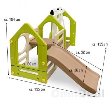 Masszeichnung Wetterfestes Spielhaus mit Rutsche & Schaukel für Kinderzimmer & Garten