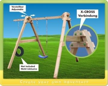Detailansicht Seite WICKEY SkyBob 240 Holzschaukel massives Schaukelgestell