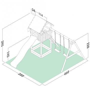 Masszeichnung WICKEY Smart Empire Spielturm mit Rutsche Schaukel
