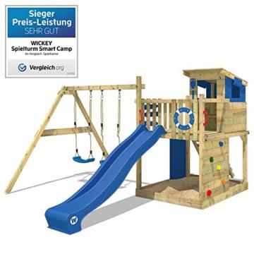 WICKEY Spielturm Smart Camp - Klettergerüst mit Stelzenhaus, massivem Holzdach, Schaukel, Sandkasten, Kletterwand, blauer Plane und blauer Wellenrutsche - 2