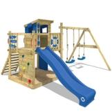WICKEY Spielturm Smart Camp - Klettergerüst mit Stelzenhaus, massivem Holzdach, Schaukel, Sandkasten, Kletterwand, blauer Plane und blauer Wellenrutsche - 1