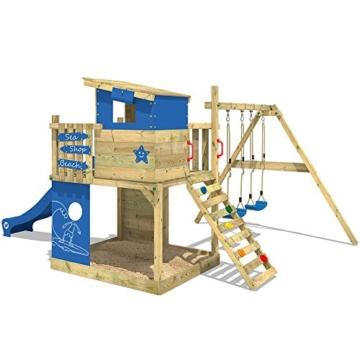 WICKEY Spielturm Smart Camp - Klettergerüst mit Stelzenhaus, massivem Holzdach, Schaukel, Sandkasten, Kletterwand, blauer Plane und blauer Wellenrutsche - 3