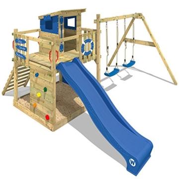 WICKEY Spielturm Smart Camp - Klettergerüst mit Stelzenhaus, massivem Holzdach, Schaukel, Sandkasten, Kletterwand, blauer Plane und blauer Wellenrutsche - 4