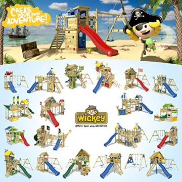 WICKEY Spielturm Smart Camp - Klettergerüst mit Stelzenhaus, massivem Holzdach, Schaukel, Sandkasten, Kletterwand, blauer Plane und blauer Wellenrutsche - 5