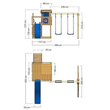 WICKEY Spielturm Smart Camp - Klettergerüst mit Stelzenhaus, massivem Holzdach, Schaukel, Sandkasten, Kletterwand, blauer Plane und blauer Wellenrutsche - 6
